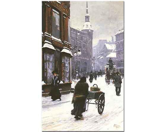 Paul Gustave Fischer Kopenhag'da Kış Günü Cadde Manzarası