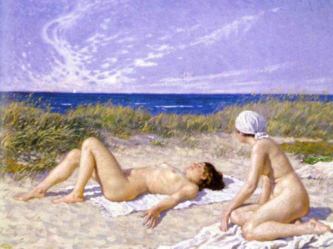 Paul Gustave Fischer Sahilde Güneşlenenler