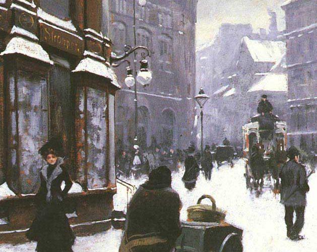 Paul Gustave Fischer Kopenhag'da Kış Günü Cadde