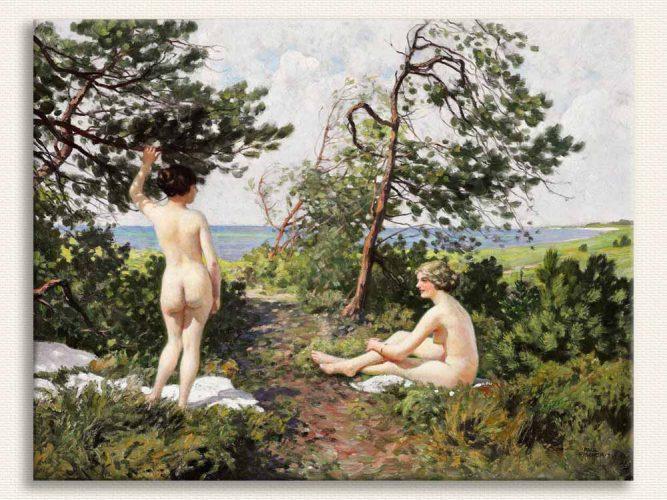Paul Gustave Fischer iki Bayan Ağaçların Altında