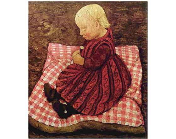 Paula Modersohn Becker Kırmızı Kareli Yastıkta Çiftçi Çocuğu