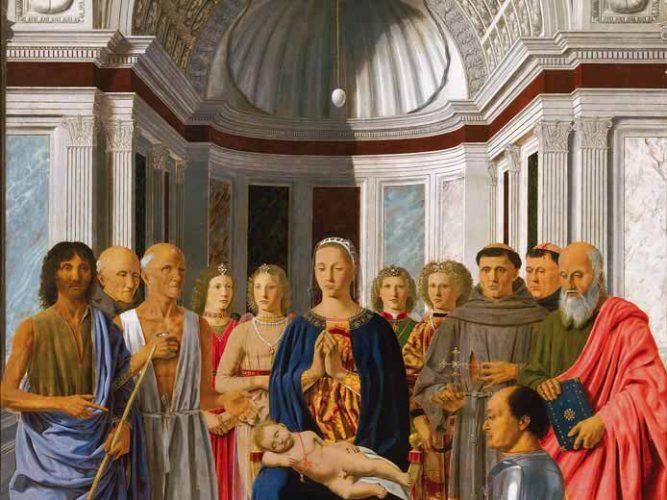 Piero Della Francesca Bakire ve Çocuk Azizlerle