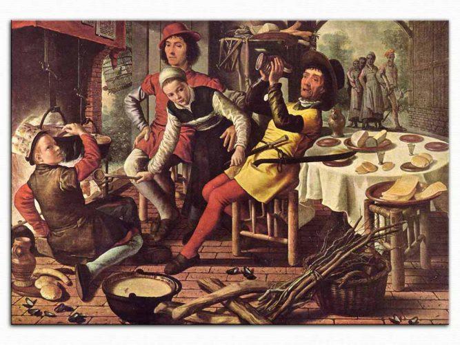 Pieter Aertsen şömine önünde köylüler