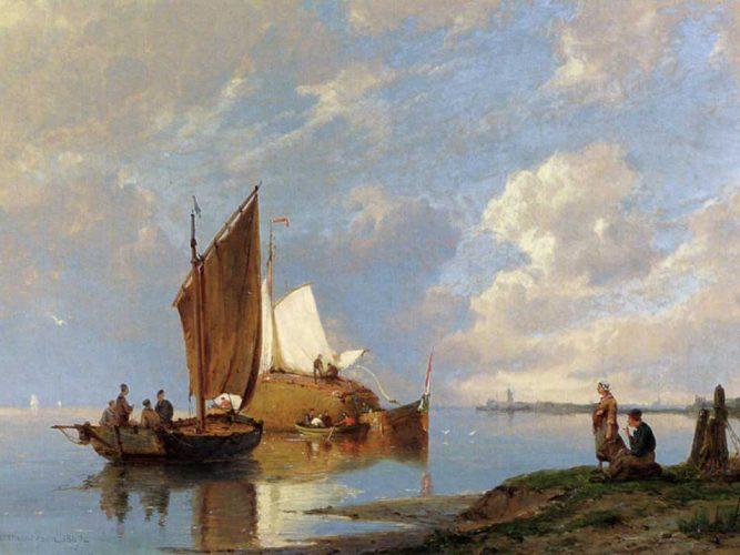 Pieter Christiaan Dommersen Kıyıda Balıkçı Tekneleri