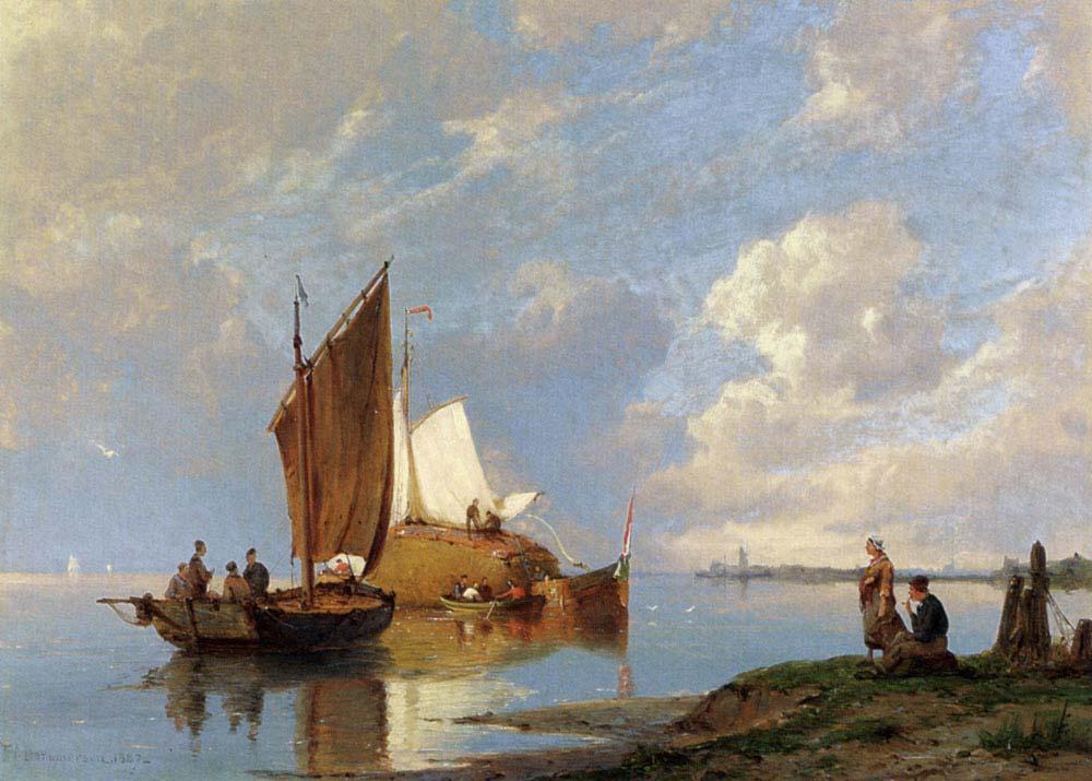 Pieter Cornelis Dommersen Kıyıda Balıkçı Tekneleri