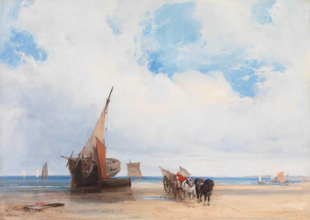 Richard Parkes Bonington Kıyıda Tekneler ve Araba Trouville