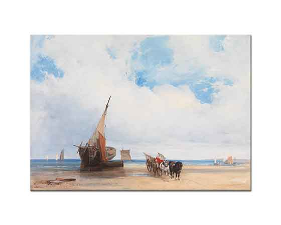 Richard Parkes Bonington Kıyıda Tekneler ve Araba Trouville