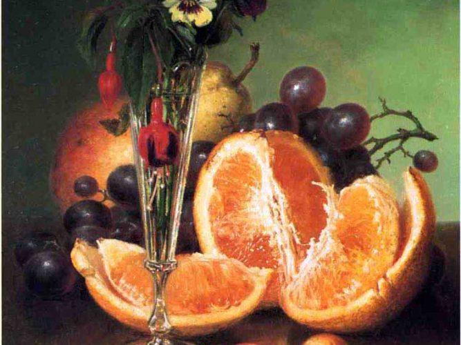 Robert Spear Dunning Çiçekli ve Meyveli Natürmort
