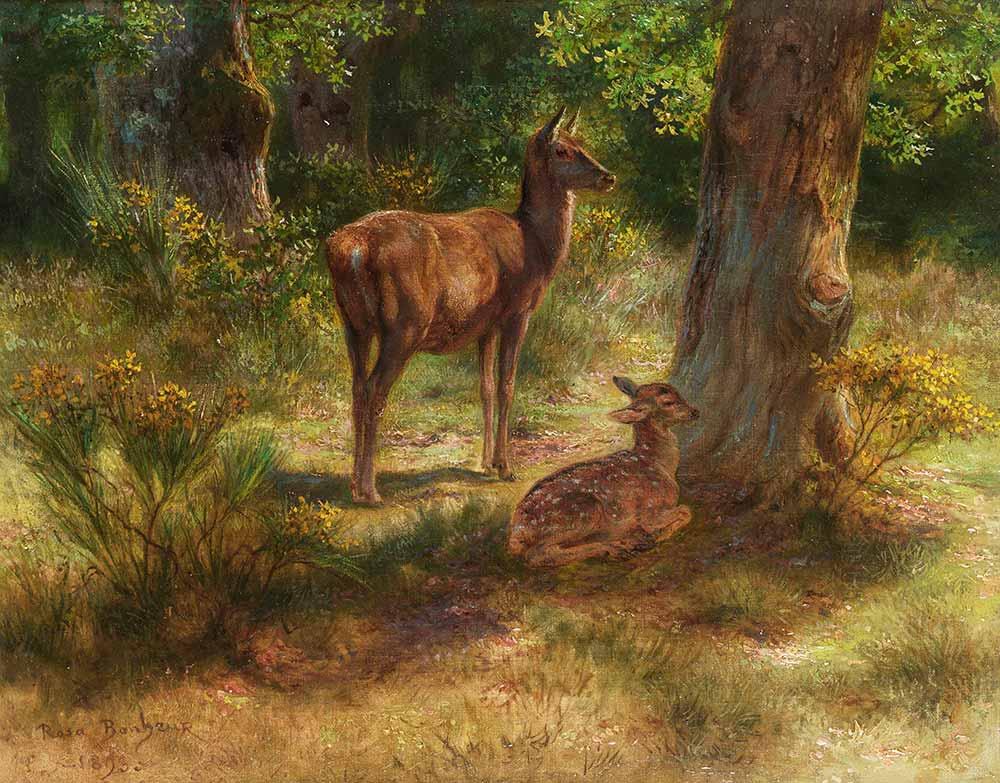 Rosa Bonheur Ağaç Yanında Geyik ve Yavrusu