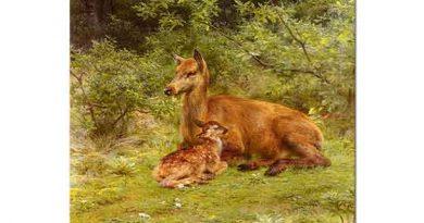 Rosa Bonheur Fundalıkta Dişi Geyik ve Yavrusu