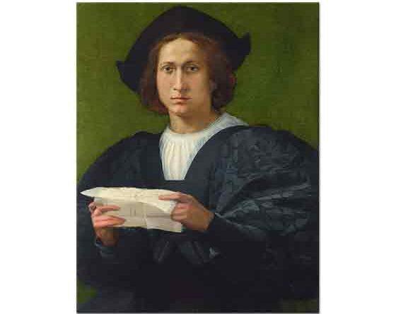 Rosso Fiorentino Genç Adam Elinde Mektupla - Portrait of a Young Man holding a Letter