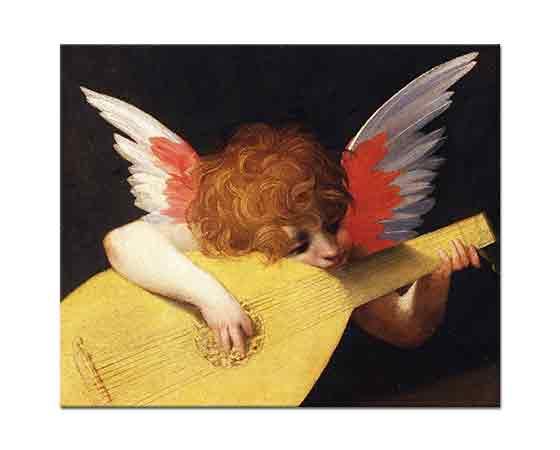 Rosso Fiorentino Müzisyen Melek - Musical Angel Playing the Lute