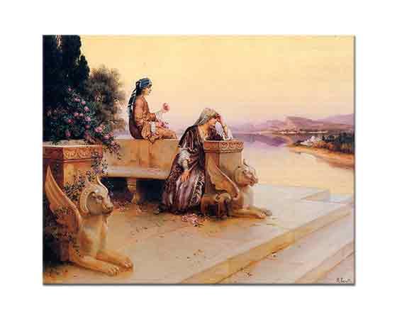 Rudolph Ernst Zarif Arap Hanımları Günbatımında Terasta