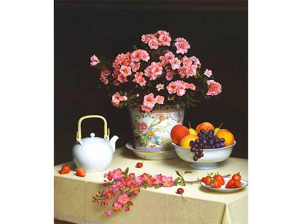 Stephen Gjertson Meyve ve Çiçekli Natürmort