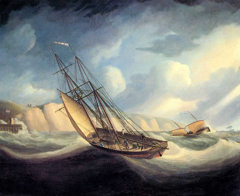 Thomas Buttersworth Hızlı ve Küçük Yelkenli Kara Önünde