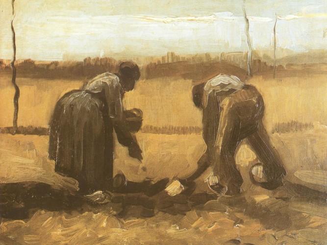 Vincent Willem van Gogh Çiftçi ve Hanımı Patates Ekerken