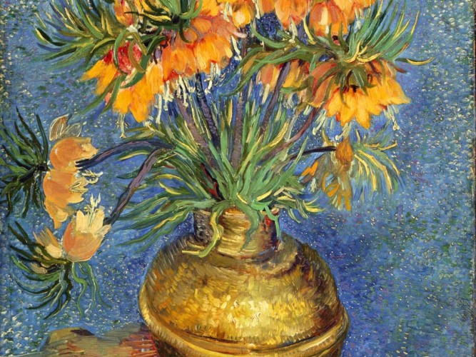 Vincent Willem van Gogh Bronz Vazoda Çiçekler