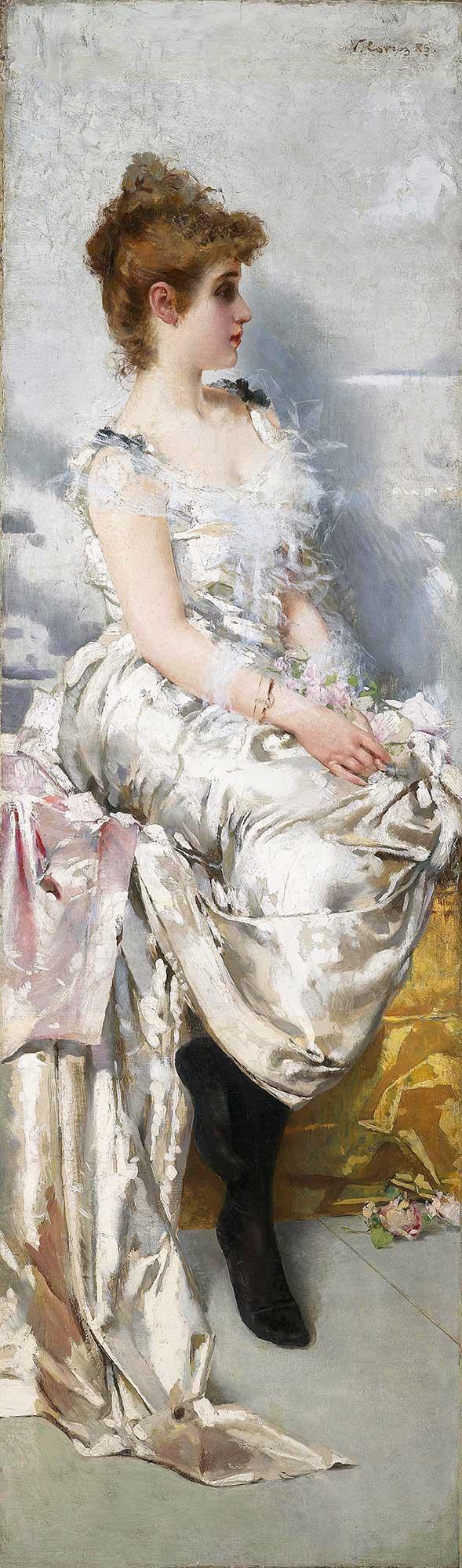 Vittorio Matteo Corcos Çiçekler ve Elbisesi ile Genç Kadın Portresi