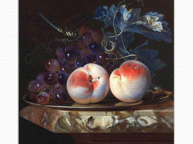 Willem van Aelst üzüm ve şeftalili Natürmort