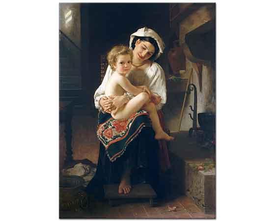 William Adolphe Bouguereau Çocuğuna Bakan Genç Anne