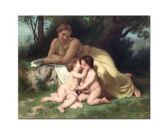 William Adolphe Bouguereau Çocuklarını Sevgiyle Seyreden Anne