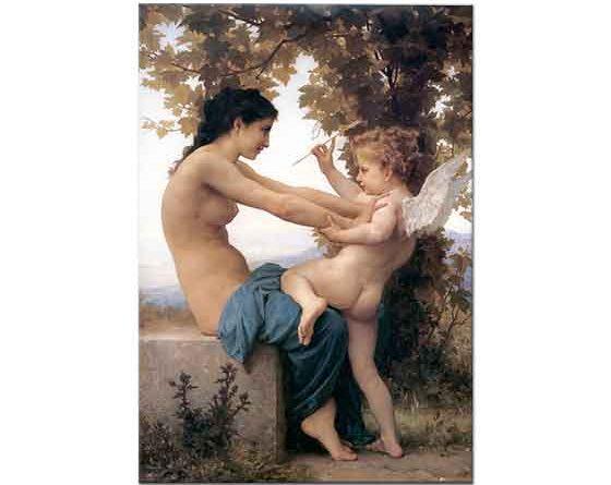 William Adolphe Bouguereau Cupid'e Direnen Genç Kız