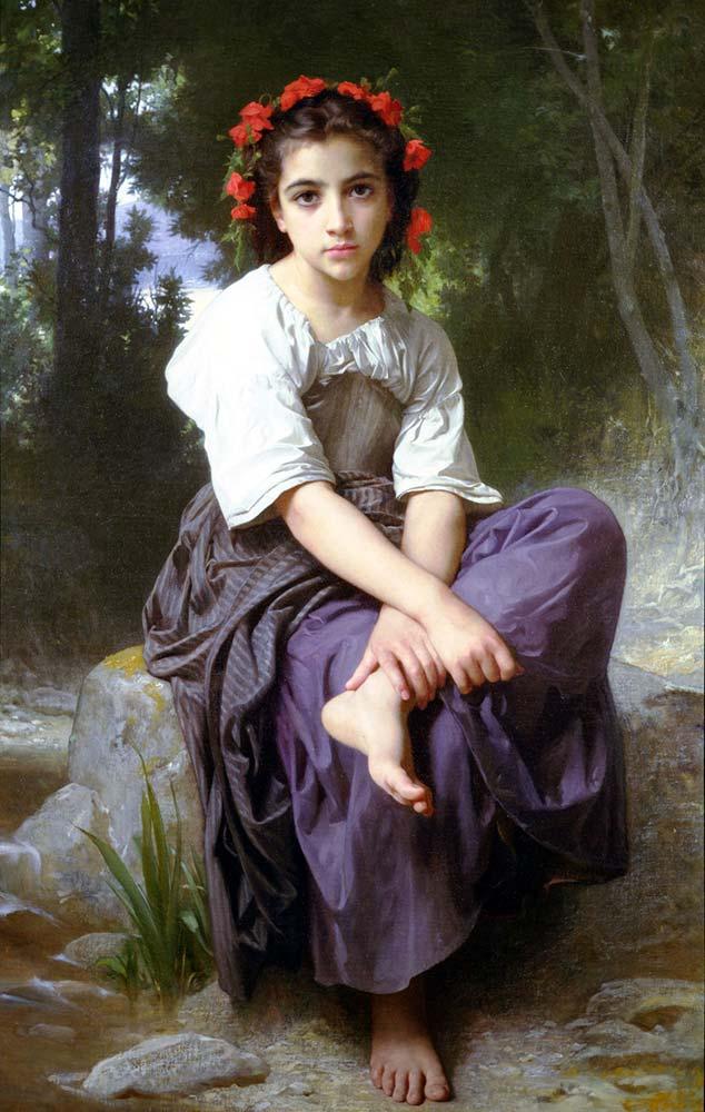 William Adolphe Bouguereau Dere Kenarında