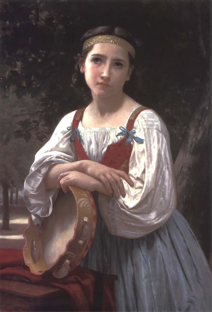 William Adolphe Bouguereau Tefi ile Çingene Kız