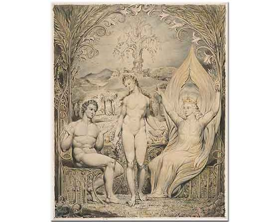 William Blake Başmelek Raphael Adem ve Havva ile