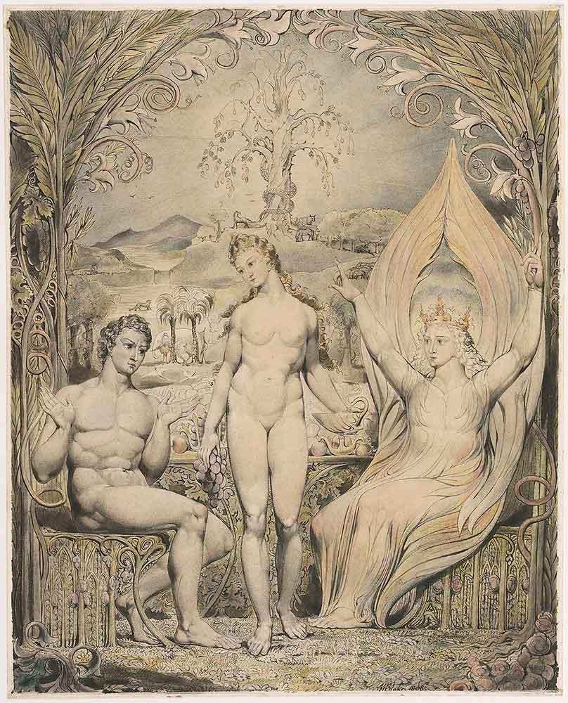 William Blake Başmelek Raphael Adem ve Havva ile