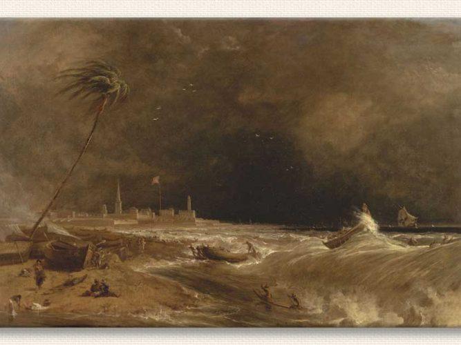 William Daniell Madras St George Kalesi, Bengal Körfezi Hava Fırtınalı