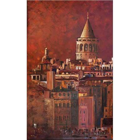Adviye Özküçük Kırmızıda Galata Kulesi