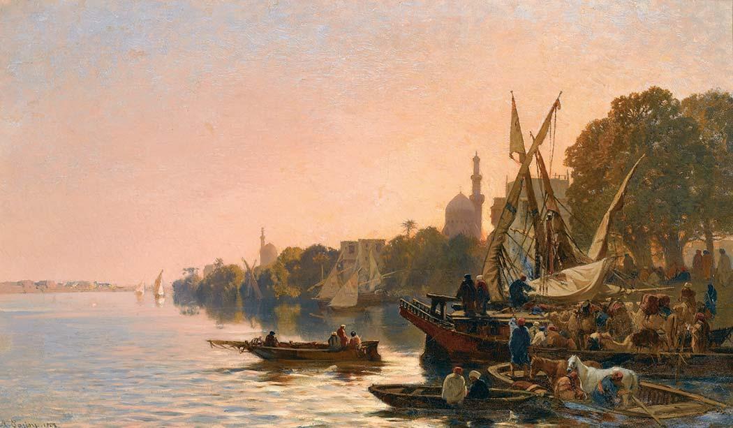 Alberto Pasini Nil Kıyısında Tekneler