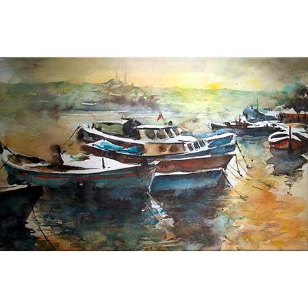 Burhan Özer Haliç Manzarası ve Tekneler