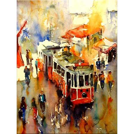 Burhan Özer İstiklal Caddesinde Tramvay