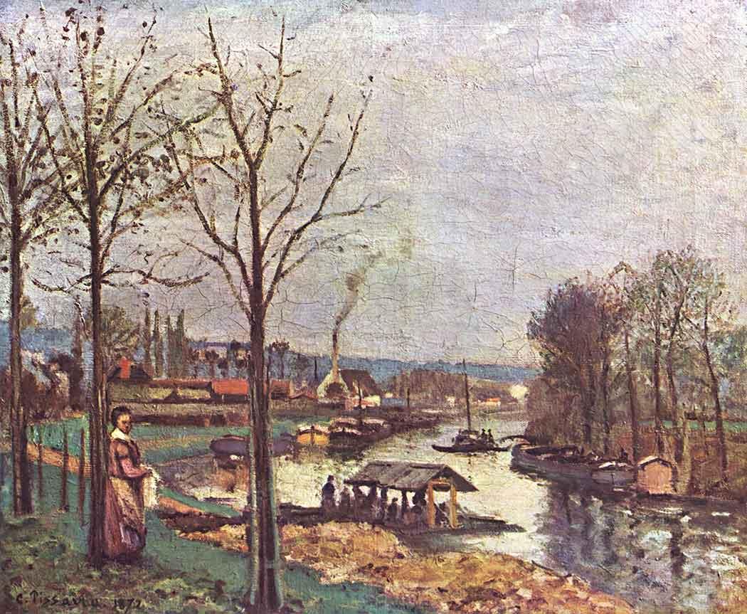 Camille Pissarro Nehir Kıyısında Tekneler