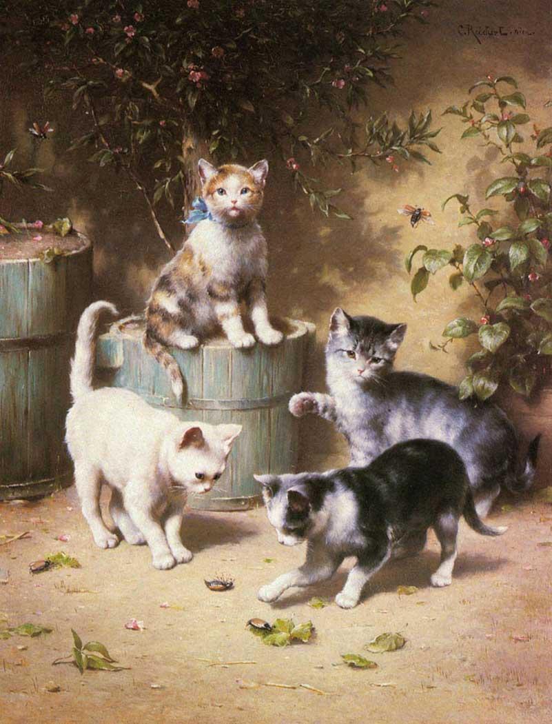 Carl Reichert Böceklerle Oynayan Kediler