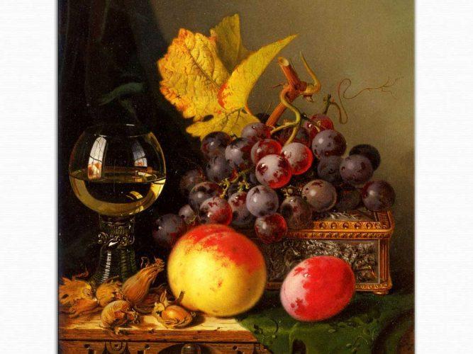 Edward Ladell şarap bardaklı natürmort