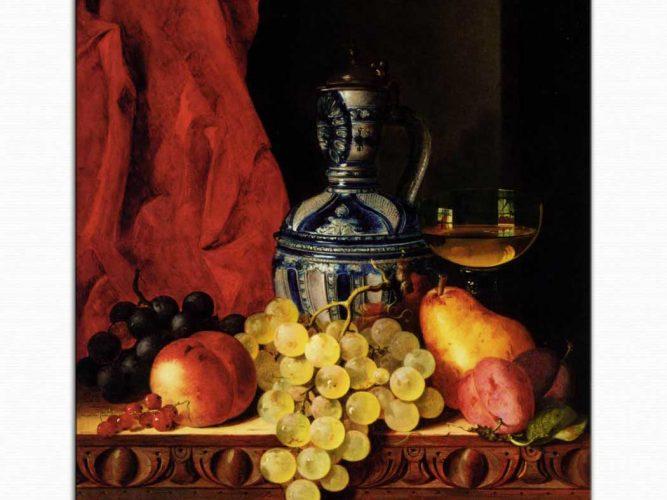 Edward Ladell üzüm armut ve şarap bardağı
