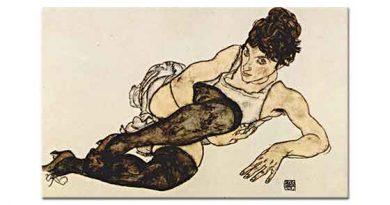 Egon Schiele Yeşil Çorapları ile Oturan kadın
