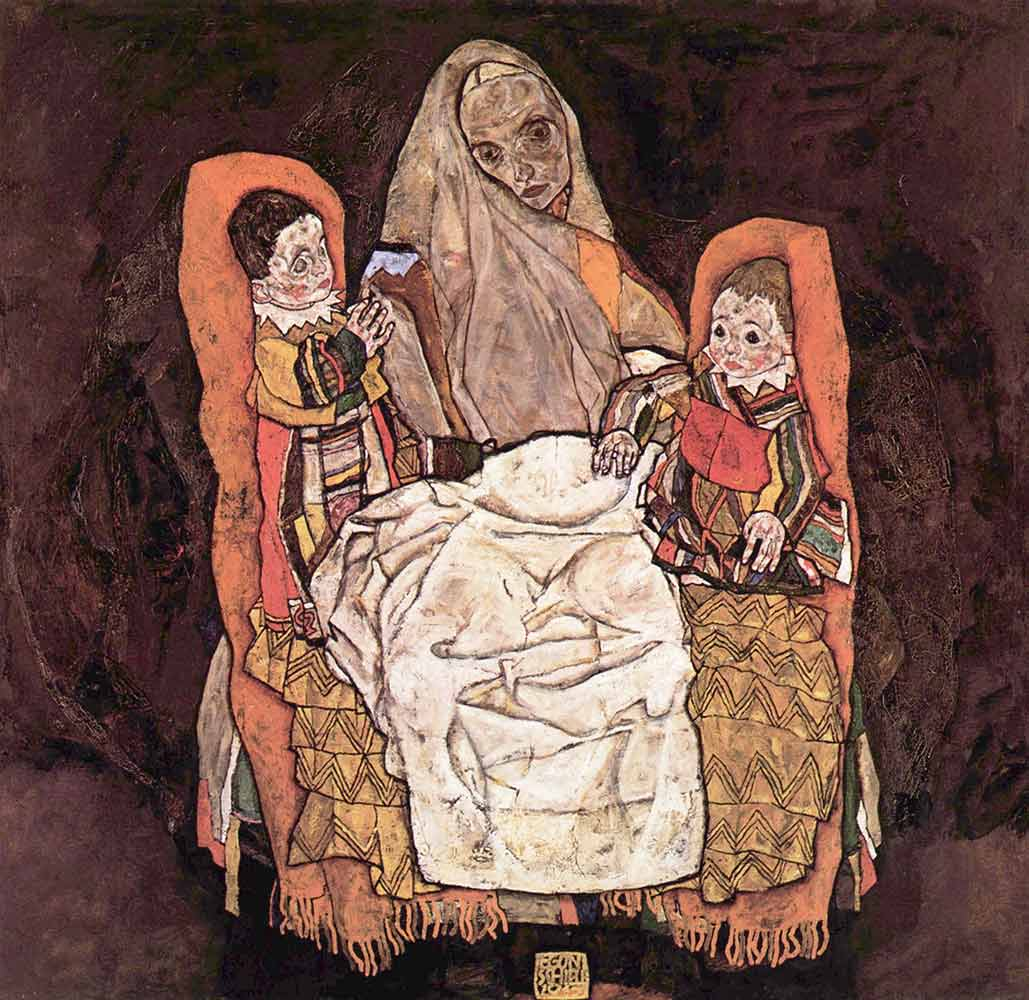 Egon Schiele iki Çocuğu ile Anne
