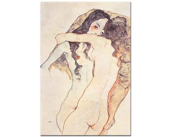 Egon Schiele Kucaklaşan iki Kadın