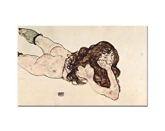 Egon Schiele Yüzükoyun Yatan Nü