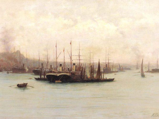 Fausto Zonaro Boğaz'da Gemiler