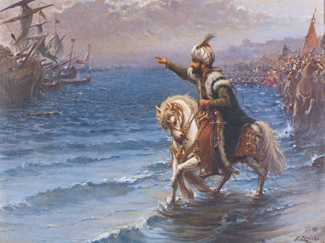 Fausto Zonaro Fatih Atını Denize Sürerken