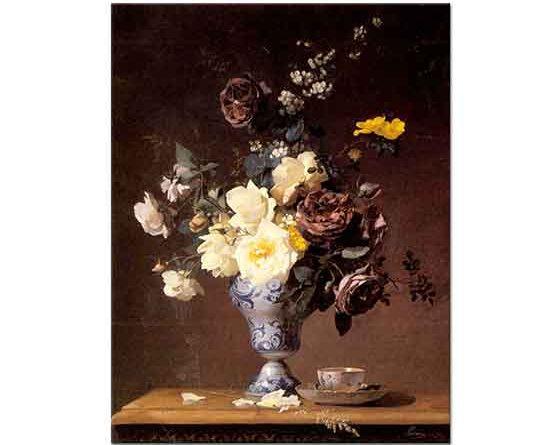 Francois Rivoire Vazoda Gül ve Çiçekler