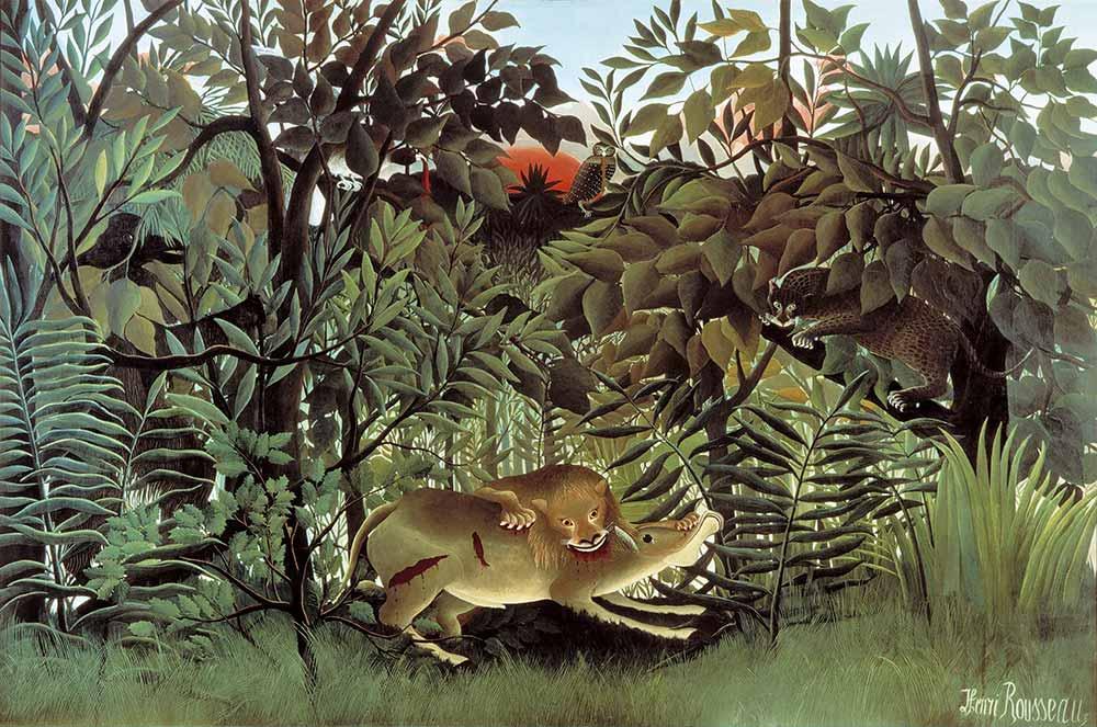 Henri Rousseau Antilopa Saldıran Aslan