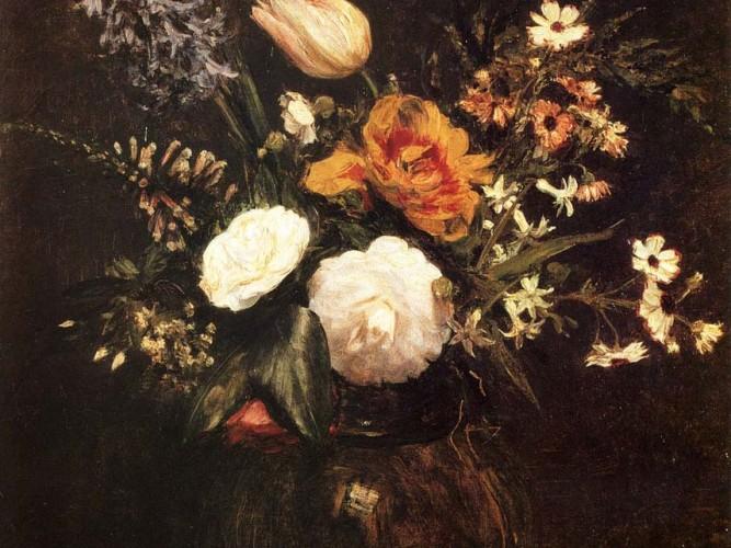Henri Fantin Latour vazoda çiçekler