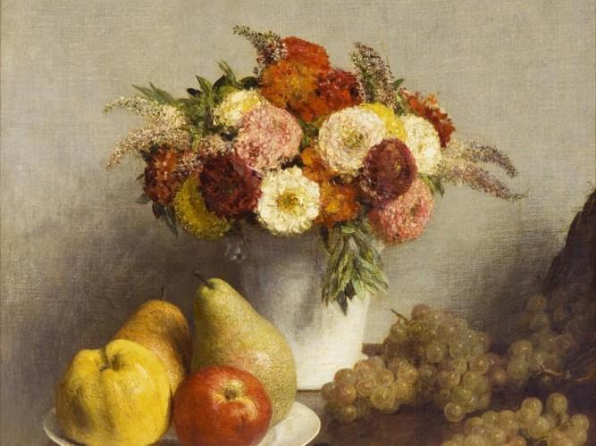 Henri Fantin Latour çiçek demeti ve meyveler