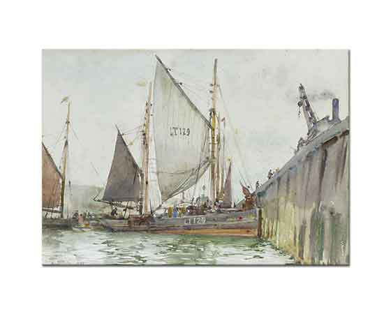 Henry Scott Tuke iskele yanında Yelkenli